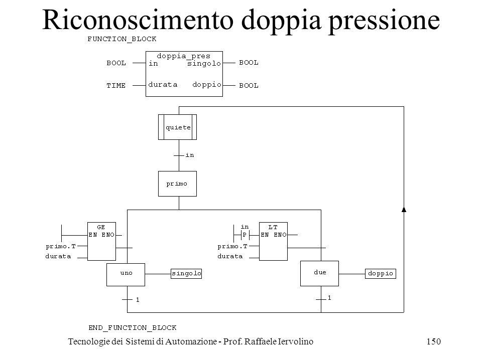 Tecnologie dei Sistemi di Automazione - Prof. Raffaele Iervolino150 Riconoscimento doppia pressione