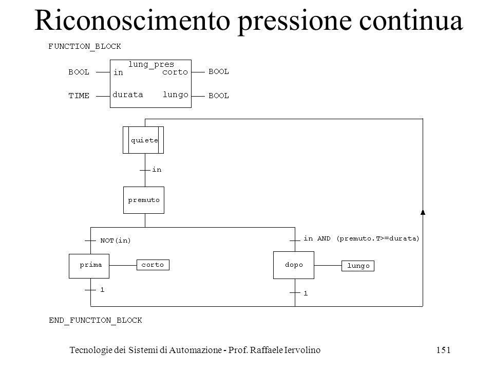 Tecnologie dei Sistemi di Automazione - Prof. Raffaele Iervolino151 Riconoscimento pressione continua
