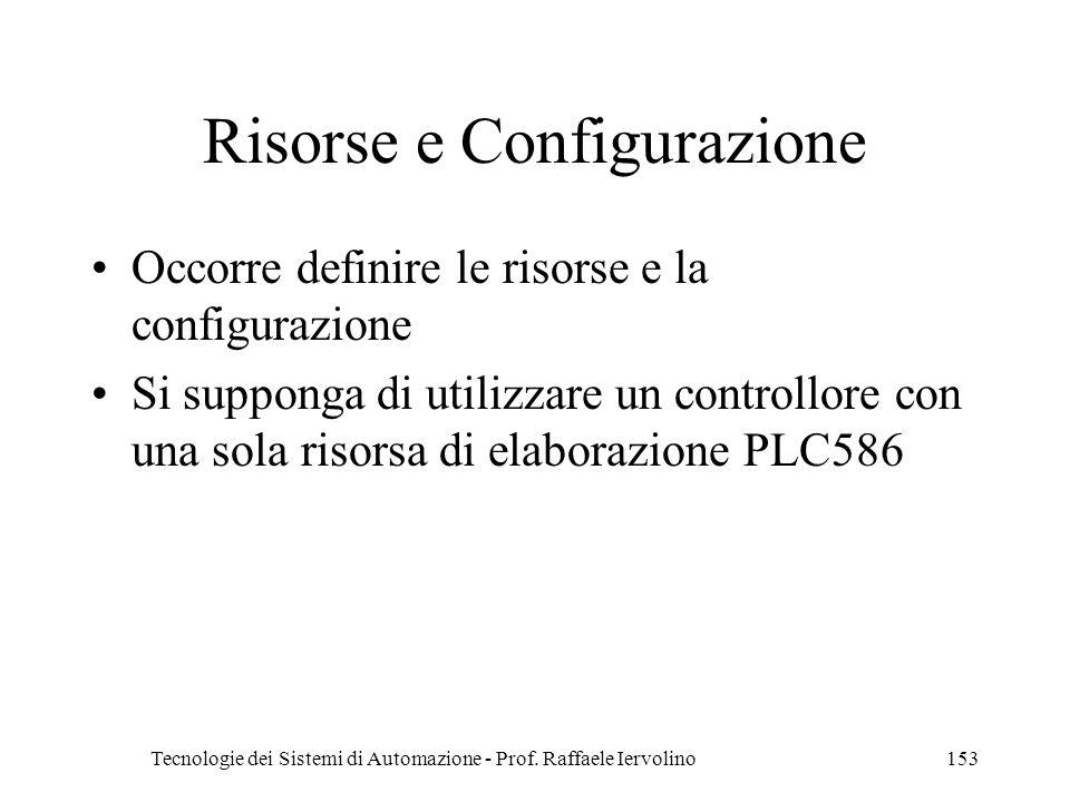 Tecnologie dei Sistemi di Automazione - Prof. Raffaele Iervolino153 Risorse e Configurazione Occorre definire le risorse e la configurazione Si suppon