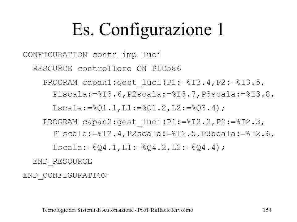 Tecnologie dei Sistemi di Automazione - Prof. Raffaele Iervolino154 Es. Configurazione 1 CONFIGURATION contr_imp_luci RESOURCE controllore ON PLC586 P