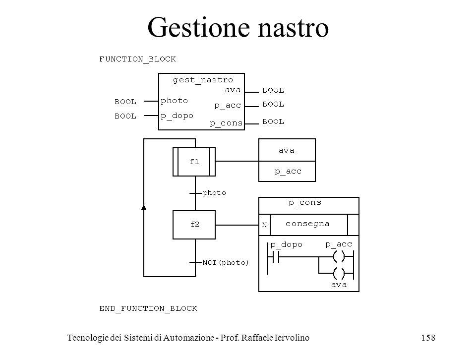 Tecnologie dei Sistemi di Automazione - Prof. Raffaele Iervolino158 Gestione nastro