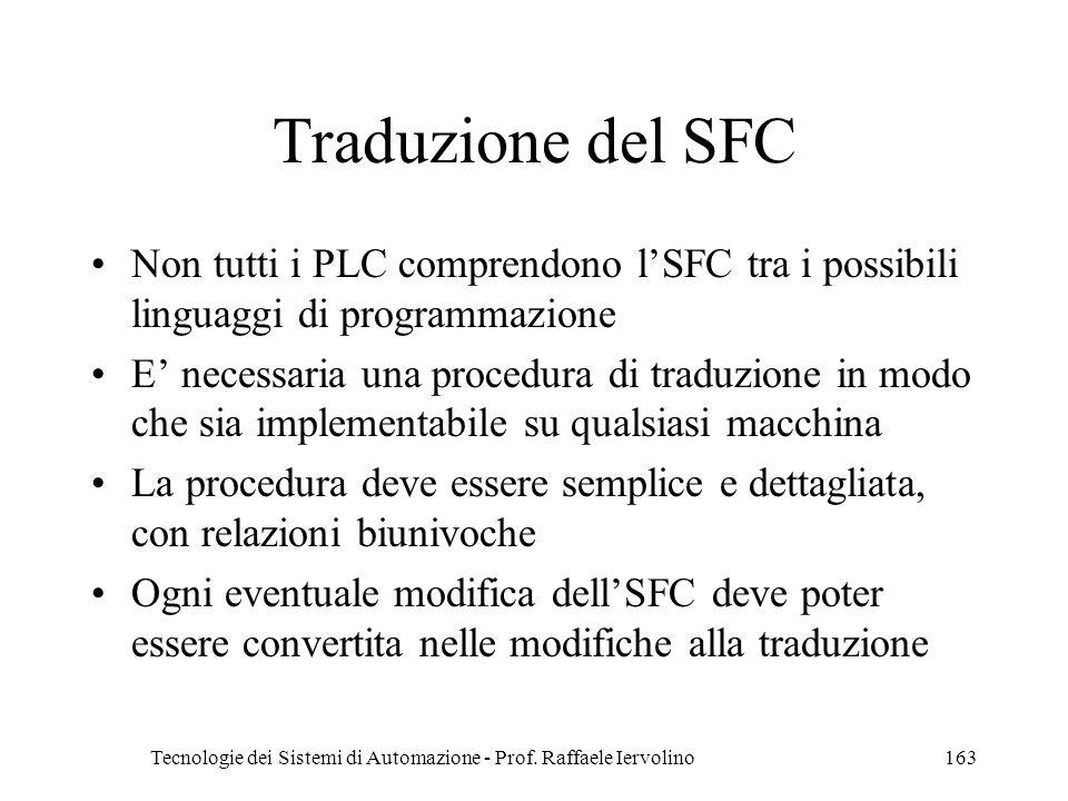 Tecnologie dei Sistemi di Automazione - Prof. Raffaele Iervolino163 Traduzione del SFC Non tutti i PLC comprendono lSFC tra i possibili linguaggi di p
