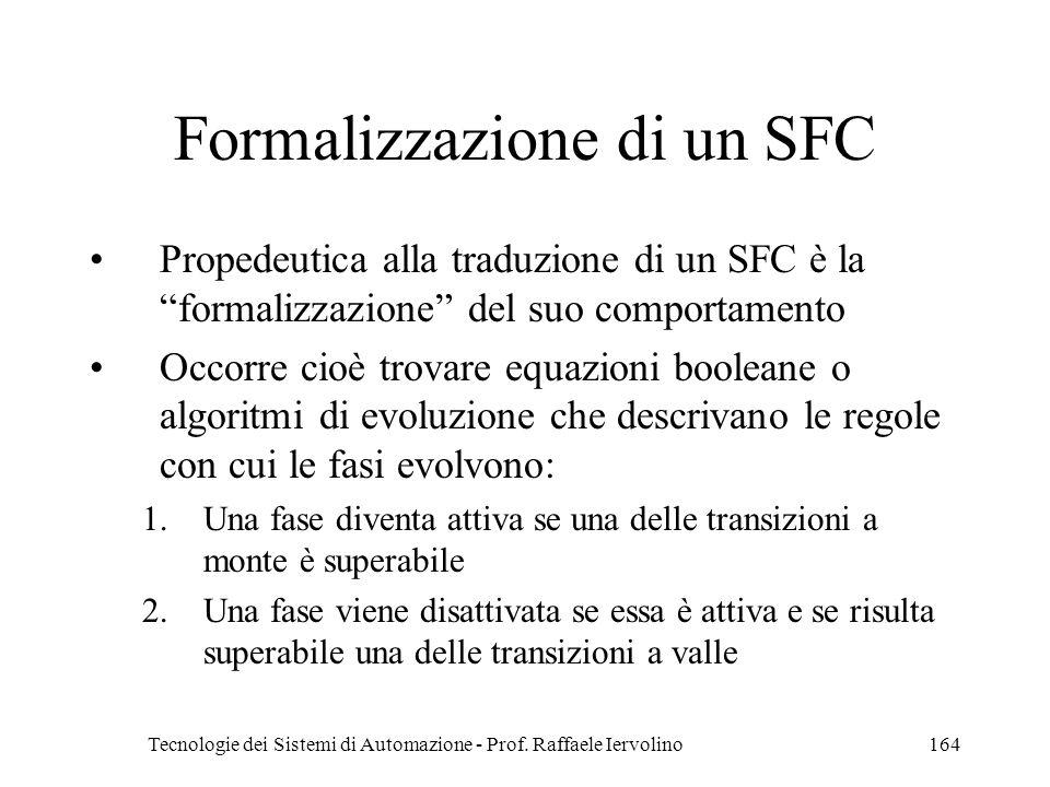 Tecnologie dei Sistemi di Automazione - Prof. Raffaele Iervolino164 Formalizzazione di un SFC Propedeutica alla traduzione di un SFC è la formalizzazi
