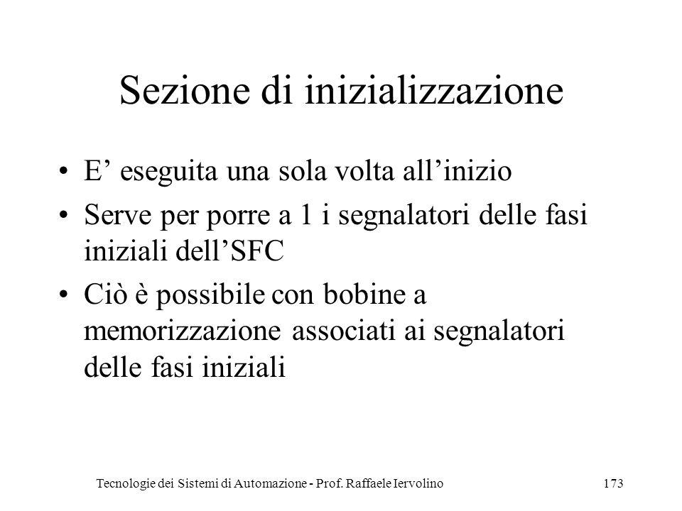 Tecnologie dei Sistemi di Automazione - Prof. Raffaele Iervolino173 Sezione di inizializzazione E eseguita una sola volta allinizio Serve per porre a
