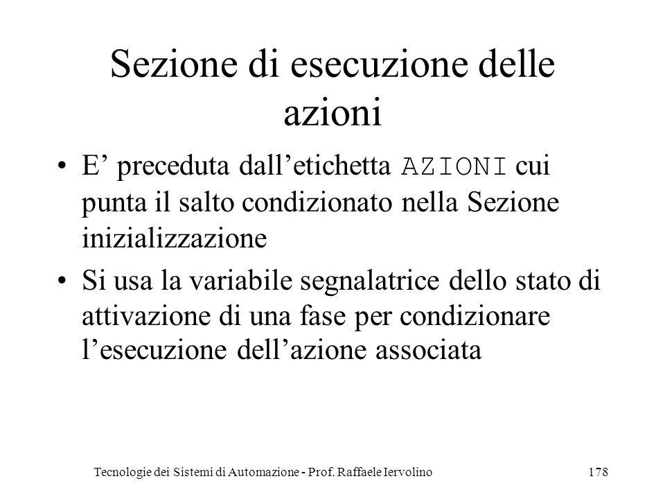 Tecnologie dei Sistemi di Automazione - Prof. Raffaele Iervolino178 Sezione di esecuzione delle azioni E preceduta dalletichetta AZIONI cui punta il s
