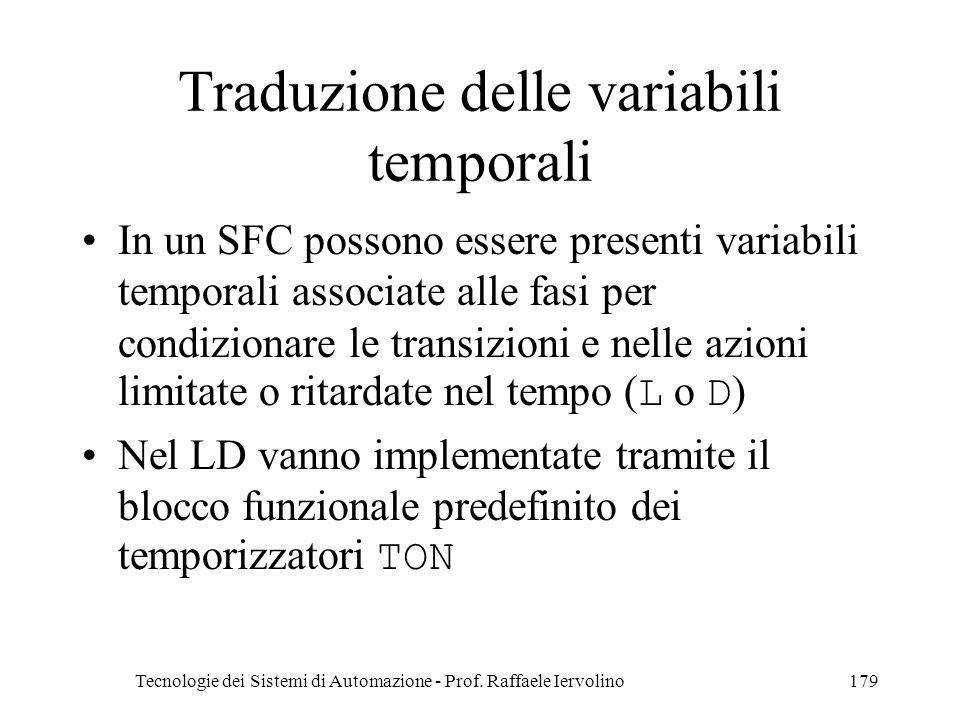 Tecnologie dei Sistemi di Automazione - Prof. Raffaele Iervolino179 Traduzione delle variabili temporali In un SFC possono essere presenti variabili t