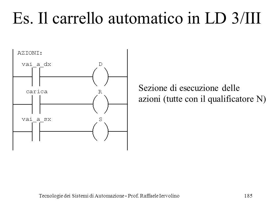 Tecnologie dei Sistemi di Automazione - Prof. Raffaele Iervolino185 Es. Il carrello automatico in LD 3/III Sezione di esecuzione delle azioni (tutte c