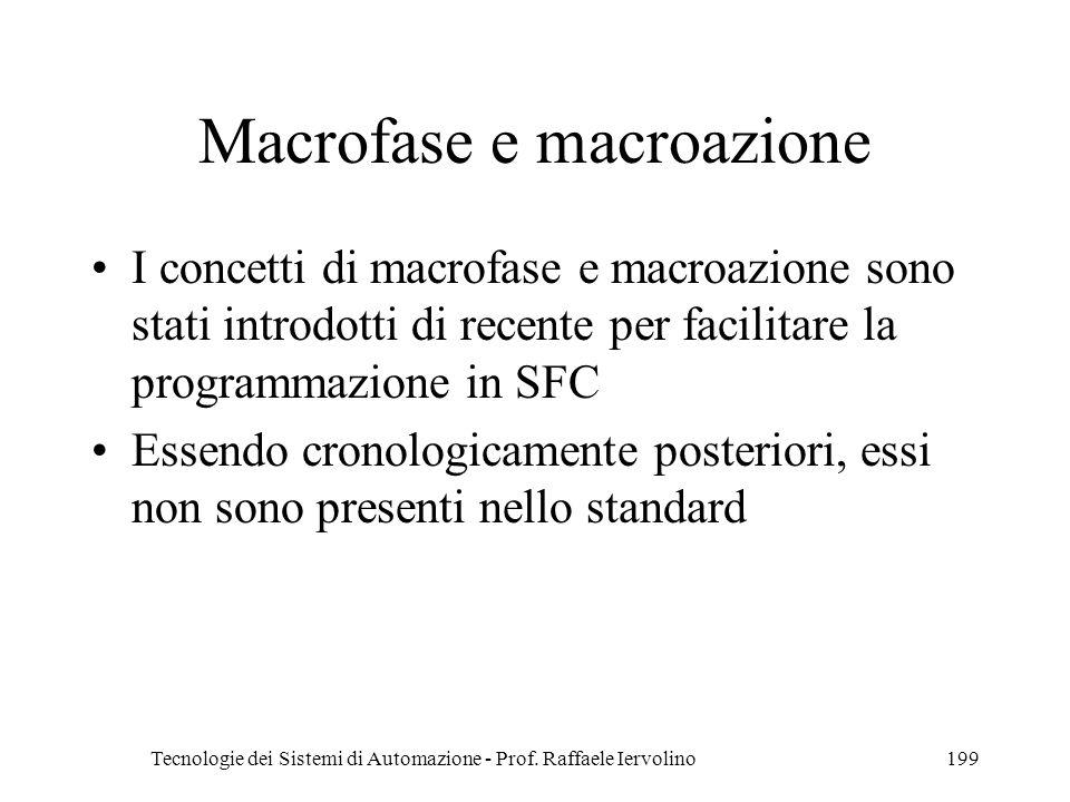 Tecnologie dei Sistemi di Automazione - Prof. Raffaele Iervolino199 Macrofase e macroazione I concetti di macrofase e macroazione sono stati introdott