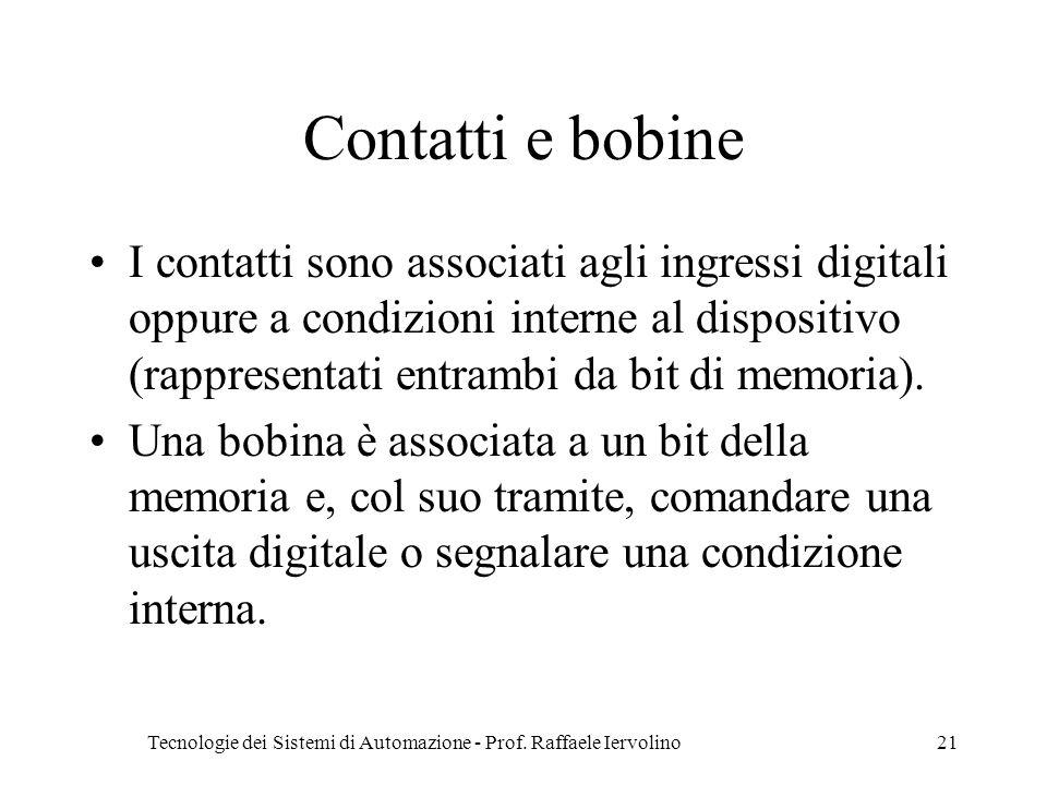 Tecnologie dei Sistemi di Automazione - Prof. Raffaele Iervolino21 Contatti e bobine I contatti sono associati agli ingressi digitali oppure a condizi
