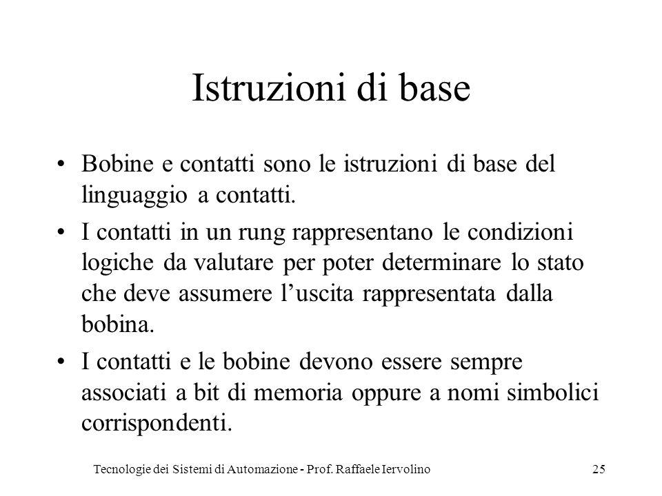 Tecnologie dei Sistemi di Automazione - Prof. Raffaele Iervolino25 Istruzioni di base Bobine e contatti sono le istruzioni di base del linguaggio a co