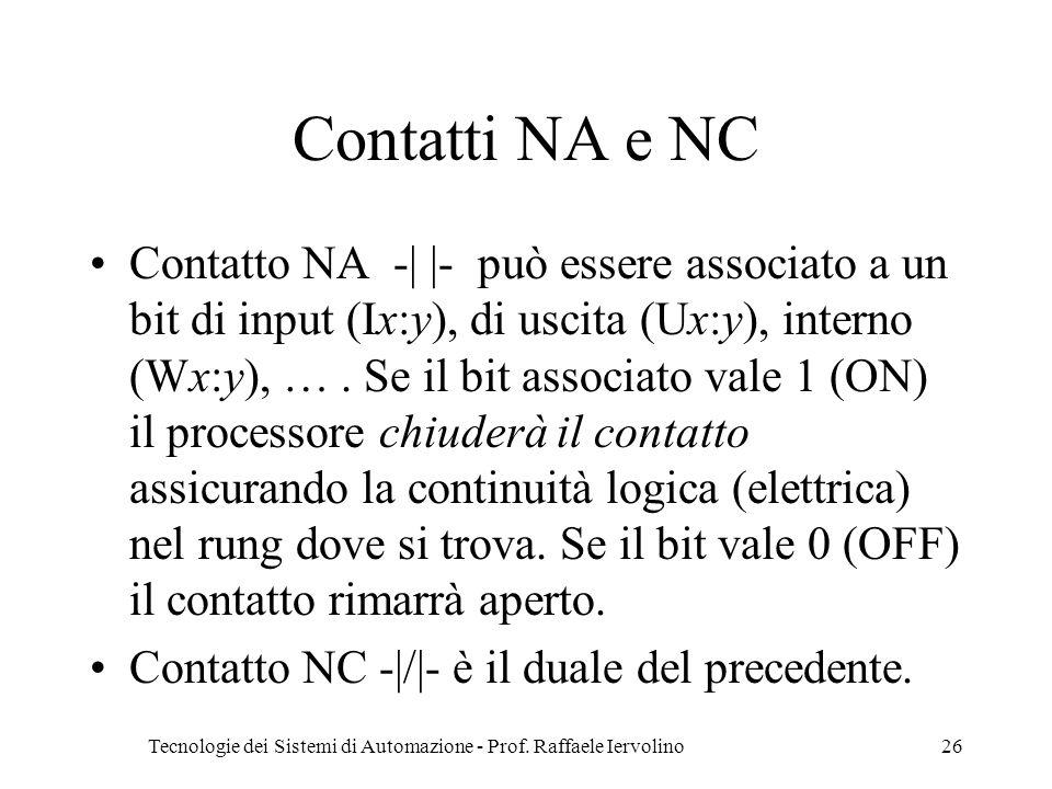 Tecnologie dei Sistemi di Automazione - Prof. Raffaele Iervolino26 Contatti NA e NC Contatto NA -| |- può essere associato a un bit di input (Ix:y), d