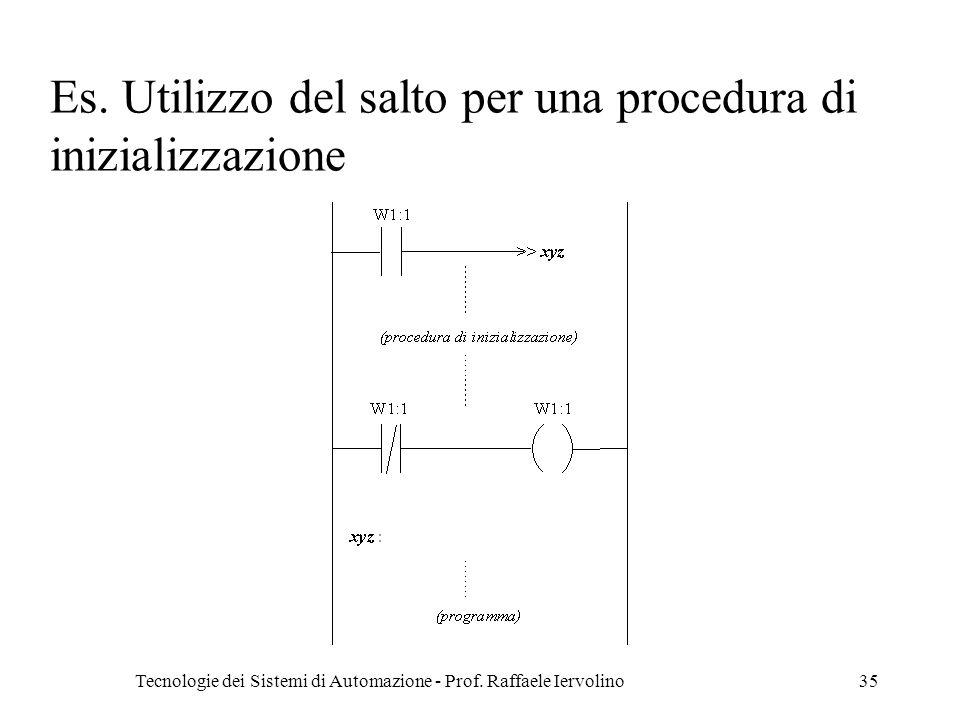 Tecnologie dei Sistemi di Automazione - Prof. Raffaele Iervolino35 Es. Utilizzo del salto per una procedura di inizializzazione