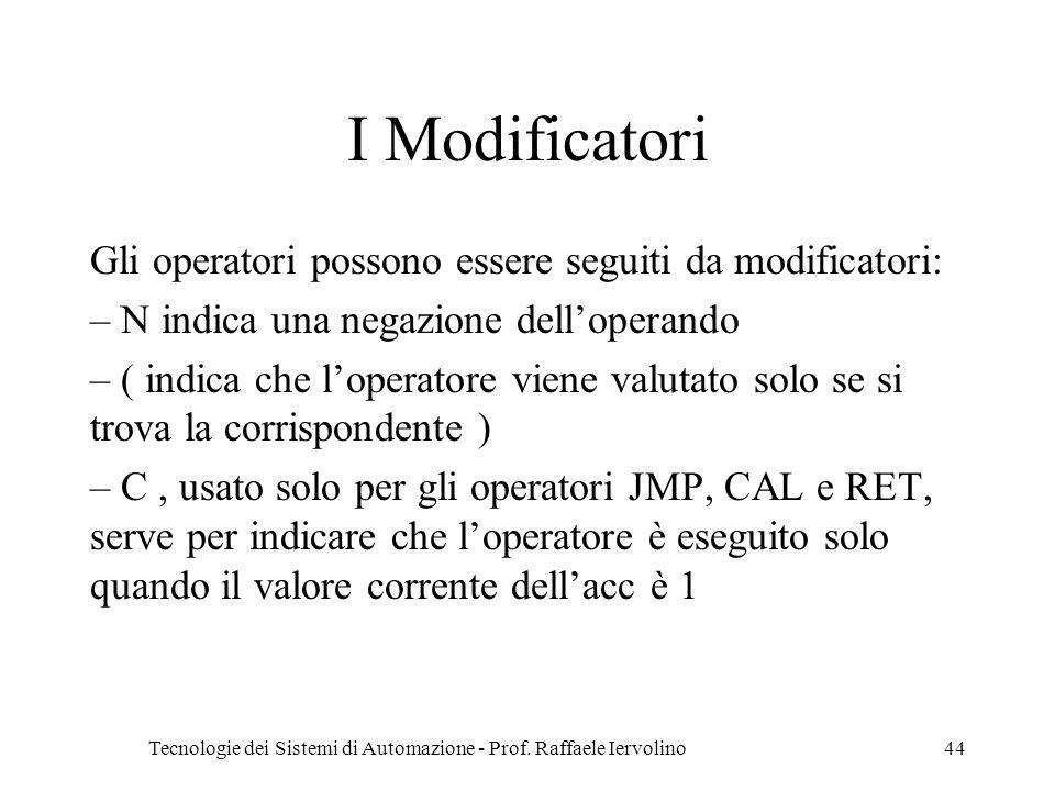 Tecnologie dei Sistemi di Automazione - Prof. Raffaele Iervolino44 I Modificatori Gli operatori possono essere seguiti da modificatori: – N indica una