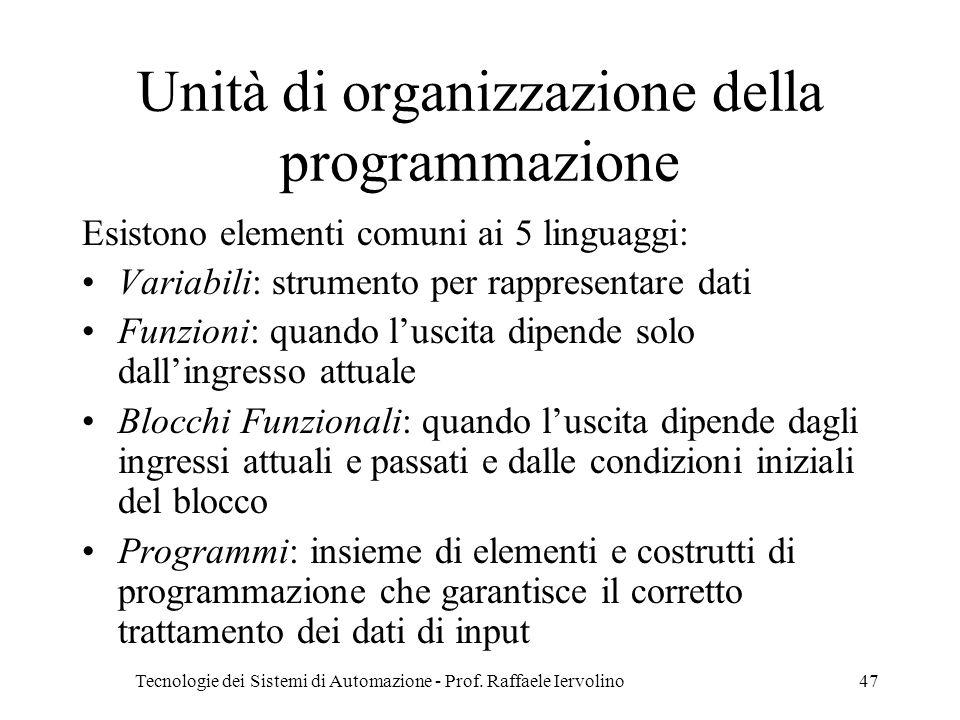 Tecnologie dei Sistemi di Automazione - Prof. Raffaele Iervolino47 Unità di organizzazione della programmazione Esistono elementi comuni ai 5 linguagg
