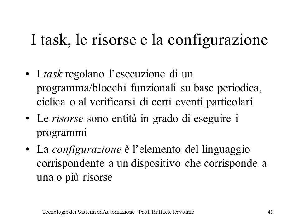 Tecnologie dei Sistemi di Automazione - Prof. Raffaele Iervolino49 I task, le risorse e la configurazione I task regolano lesecuzione di un programma/