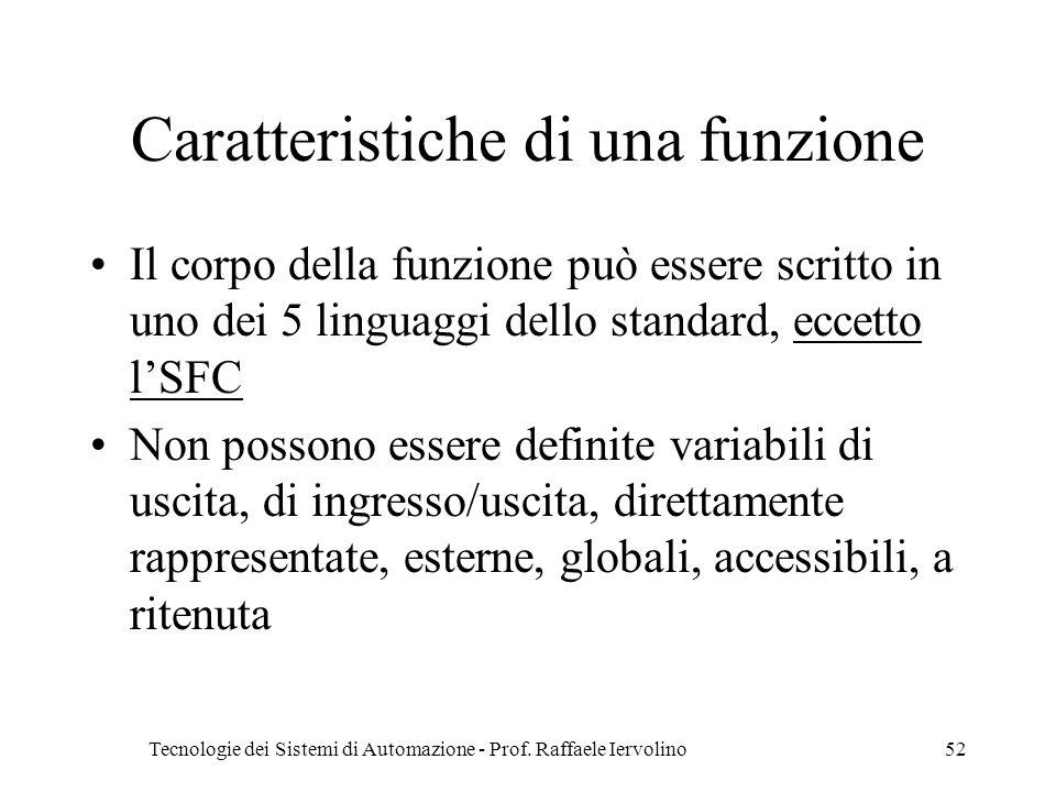 Tecnologie dei Sistemi di Automazione - Prof. Raffaele Iervolino52 Caratteristiche di una funzione Il corpo della funzione può essere scritto in uno d