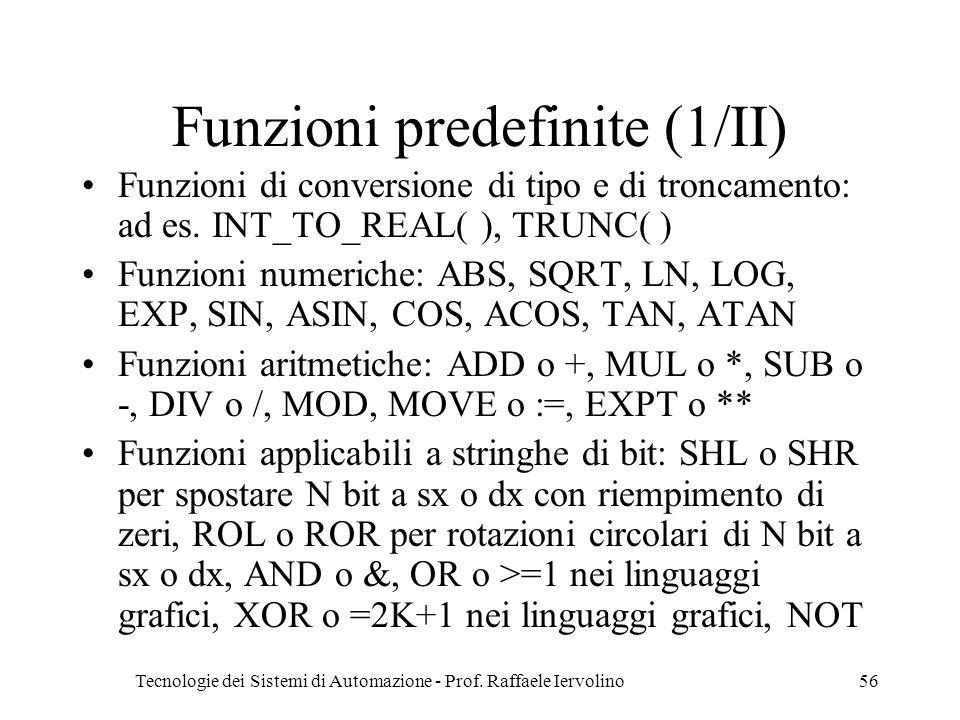 Tecnologie dei Sistemi di Automazione - Prof. Raffaele Iervolino56 Funzioni predefinite (1/II) Funzioni di conversione di tipo e di troncamento: ad es