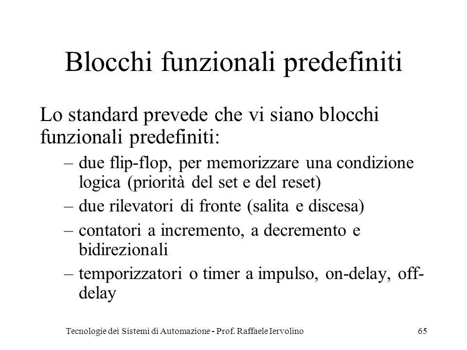 Tecnologie dei Sistemi di Automazione - Prof. Raffaele Iervolino65 Blocchi funzionali predefiniti Lo standard prevede che vi siano blocchi funzionali