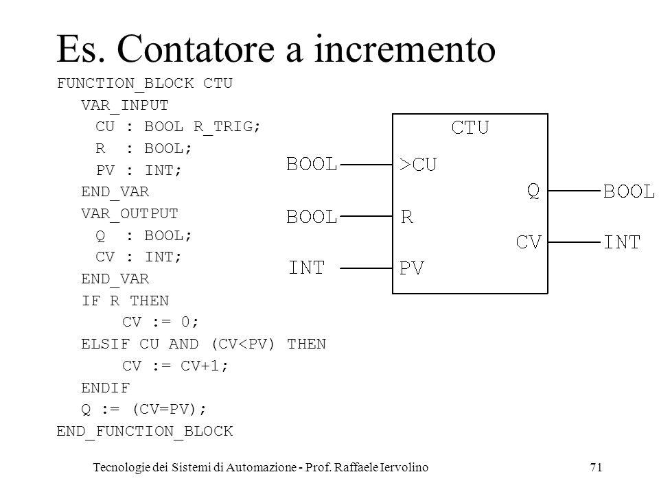 Tecnologie dei Sistemi di Automazione - Prof. Raffaele Iervolino71 Es. Contatore a incremento FUNCTION_BLOCK CTU VAR_INPUT CU : BOOL R_TRIG; R : BOOL;