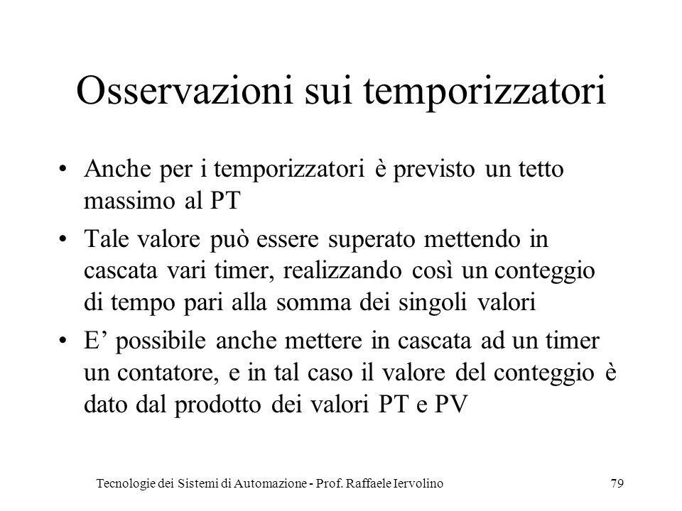 Tecnologie dei Sistemi di Automazione - Prof. Raffaele Iervolino79 Osservazioni sui temporizzatori Anche per i temporizzatori è previsto un tetto mass