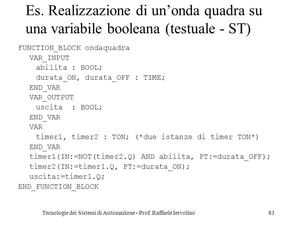 Tecnologie dei Sistemi di Automazione - Prof. Raffaele Iervolino83 Es. Realizzazione di unonda quadra su una variabile booleana (testuale - ST) FUNCTI