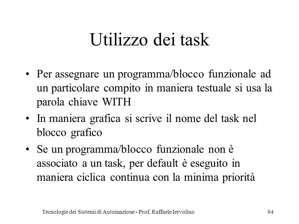Tecnologie dei Sistemi di Automazione - Prof. Raffaele Iervolino94 Utilizzo dei task Per assegnare un programma/blocco funzionale ad un particolare co