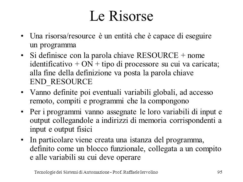 Tecnologie dei Sistemi di Automazione - Prof. Raffaele Iervolino95 Le Risorse Una risorsa/resource è un entità che è capace di eseguire un programma S