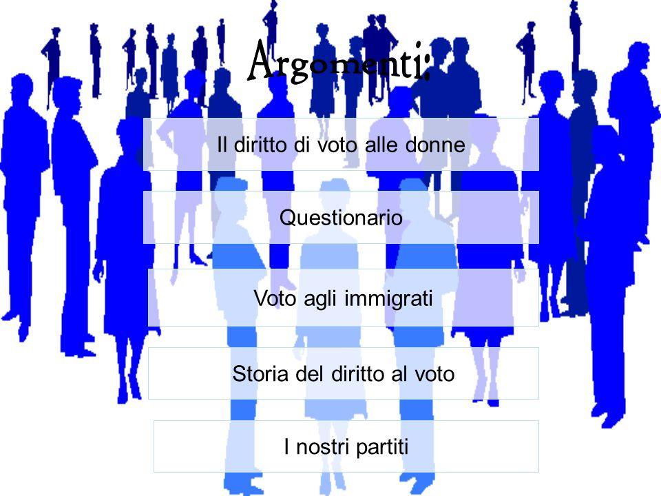 Il pensiero degli Italiani Possiamo distinguere allinterno della popolazione italiana pensieri discordanti per quanto riguarda la possibilità di includere gli immigrati regolari allinterno della popolazione votante.