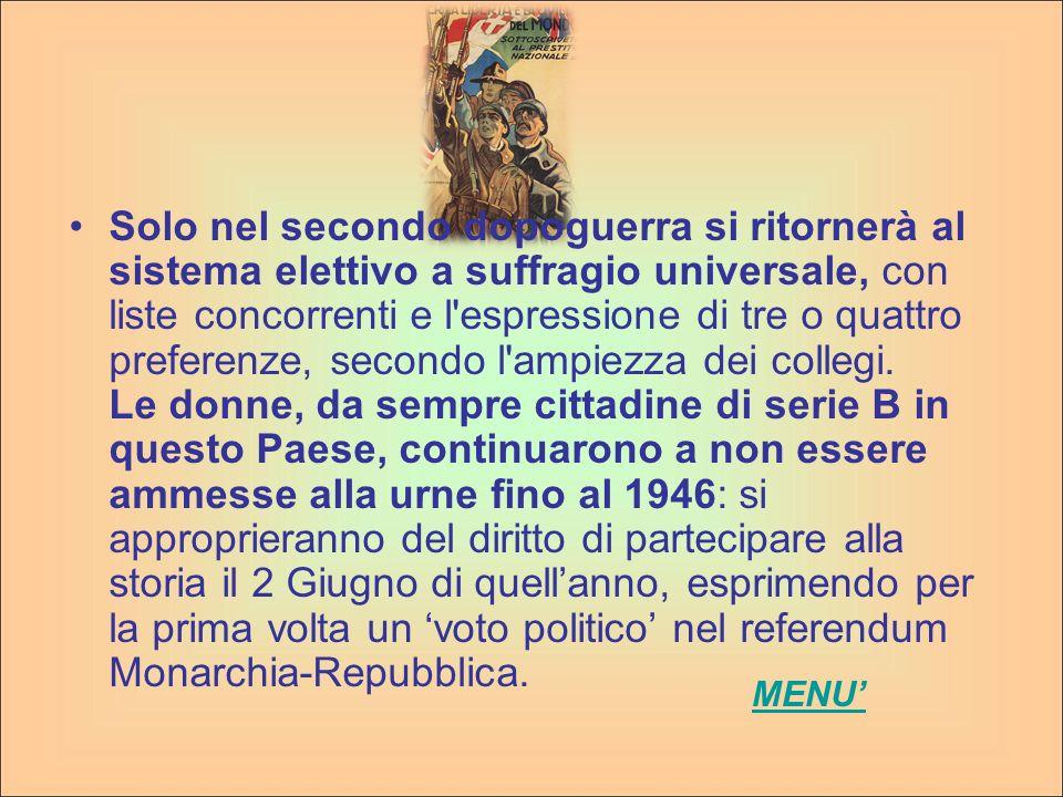 La realizzazione di un regime autoritario fondato sulla figura del Capo del Governo fu sostenuta dal successivo sistema elettorale (1928) che trasformava le elezioni in una mera approvazione della lista unica nazionale, compilata dal Gran Consiglio del Fascismo.