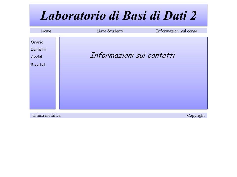 Informazioni sui contatti Laboratorio di Basi di Dati 2 Lista StudentiInformazioni sul corsoHome Orario Contatti Avvisi Risultati Ultima modifica Copyright