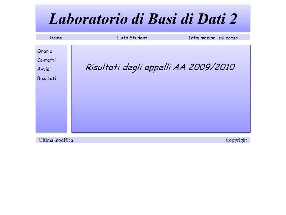 Risultati degli appelli AA 2009/2010 Laboratorio di Basi di Dati 2 Lista StudentiInformazioni sul corsoHome Orario Contatti Avvisi Risultati Ultima modifica Copyright