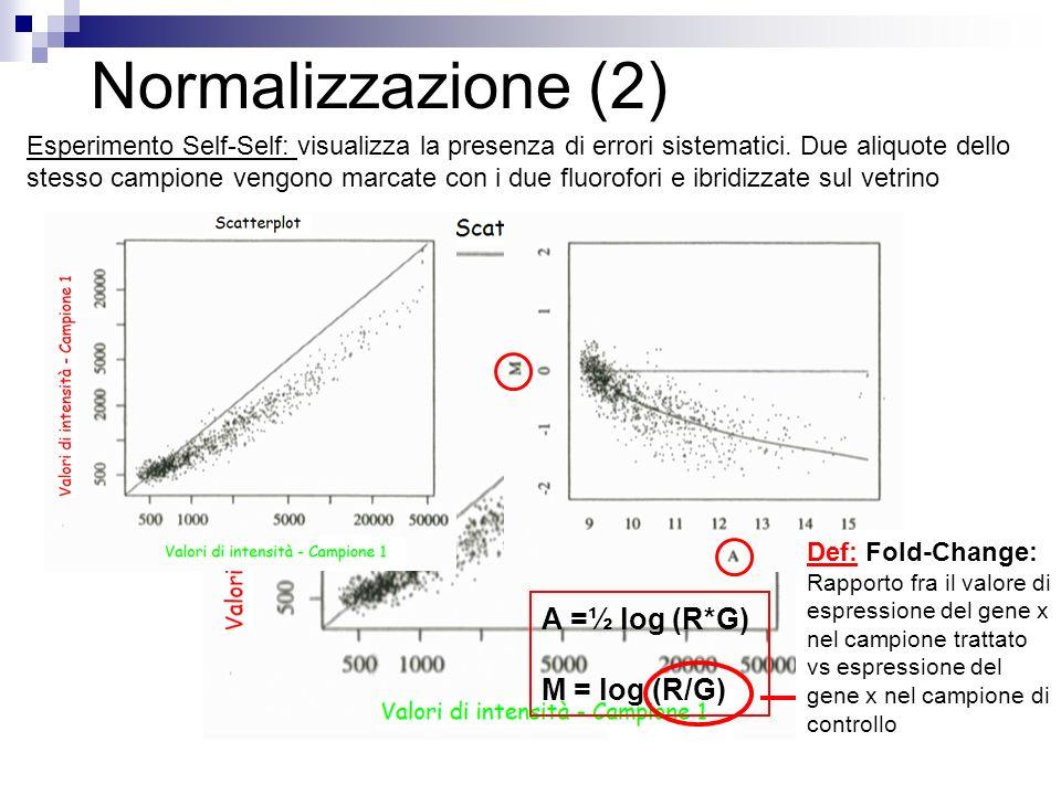 Normalizzazione (2) Fold Change A =½ log (R*G) M = log (R/G) Def: Fold-Change: Rapporto fra il valore di espressione del gene x nel campione trattato