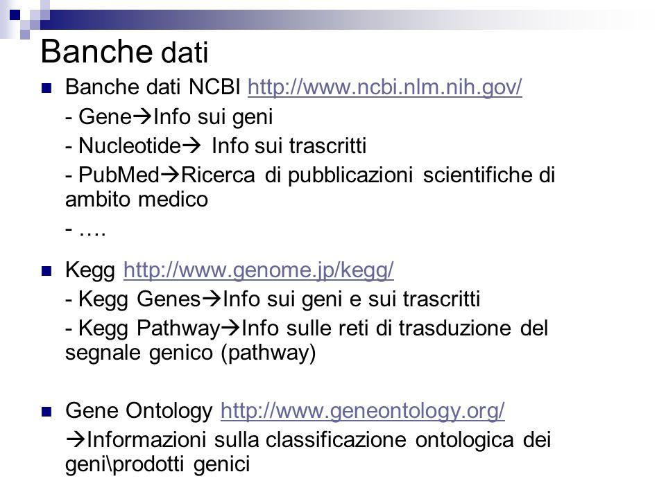 Banche dati Banche dati NCBI http://www.ncbi.nlm.nih.gov/http://www.ncbi.nlm.nih.gov/ - Gene Info sui geni - Nucleotide Info sui trascritti - PubMed R