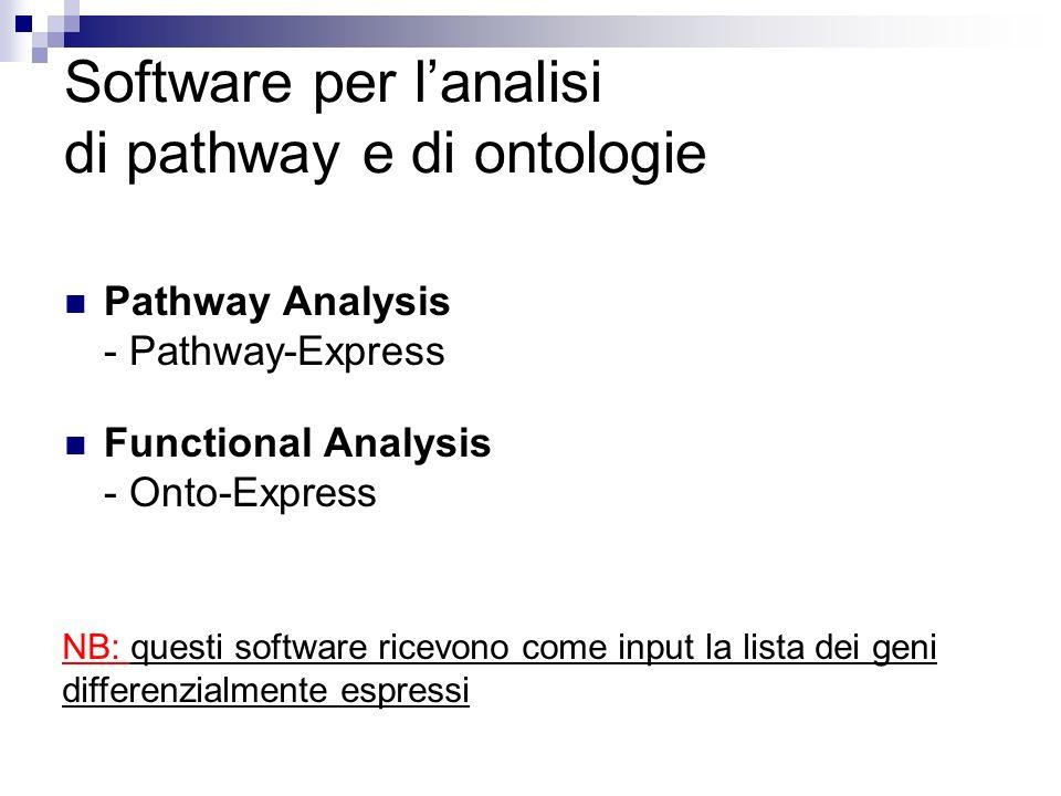Software per lanalisi di pathway e di ontologie Pathway Analysis - Pathway-Express Functional Analysis - Onto-Express NB: questi software ricevono com