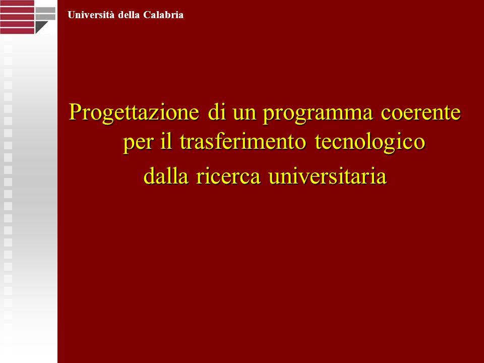 Progettazione di un programma coerente per il trasferimento tecnologico dalla ricerca universitaria Università della Calabria