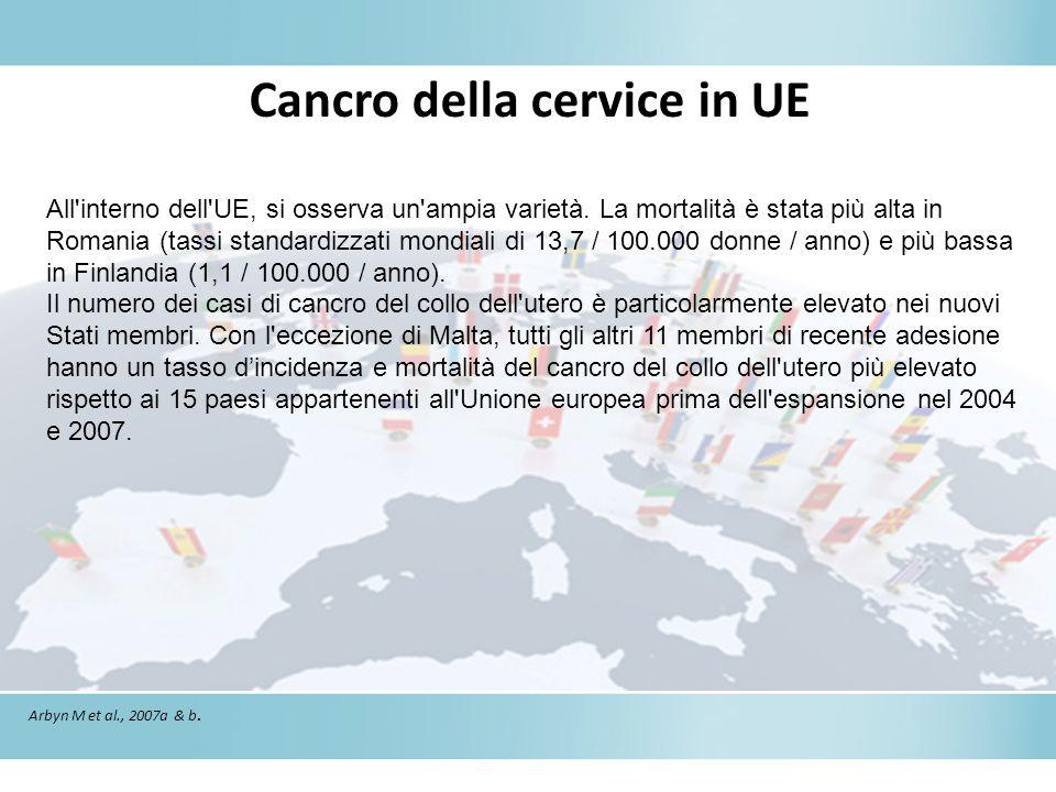 Cancro della cervice in UE Arbyn M et al., 2007a & b. All'interno dell'UE, si osserva un'ampia varietà. La mortalità è stata più alta in Romania (tass