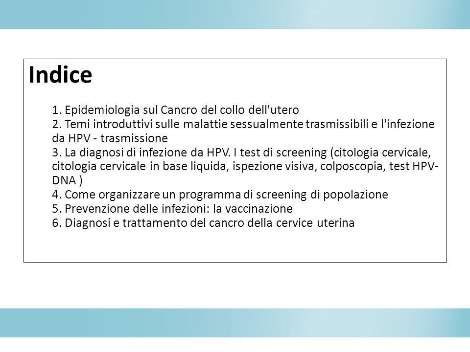 Indice 1. Epidemiologia sul Cancro del collo dell'utero 2. Temi introduttivi sulle malattie sessualmente trasmissibili e l'infezione da HPV - trasmiss
