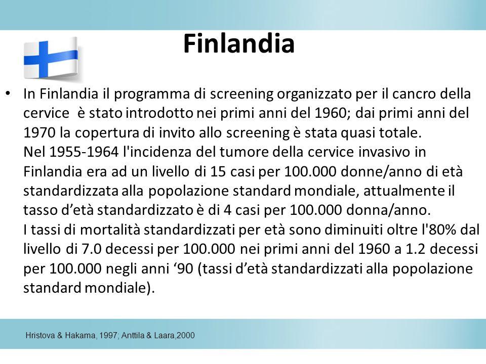 Finlandia In Finlandia il programma di screening organizzato per il cancro della cervice è stato introdotto nei primi anni del 1960; dai primi anni de