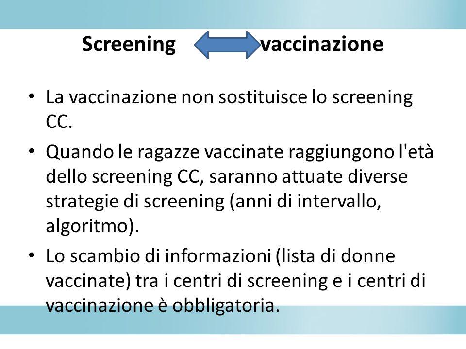La vaccinazione non sostituisce lo screening CC. Quando le ragazze vaccinate raggiungono l'età dello screening CC, saranno attuate diverse strategie d