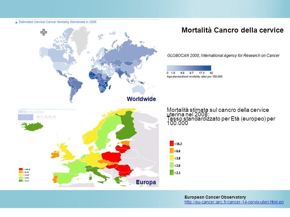 Europe Worldwide Stima dei tassi standardizzati per età nel 2008 per 100 000