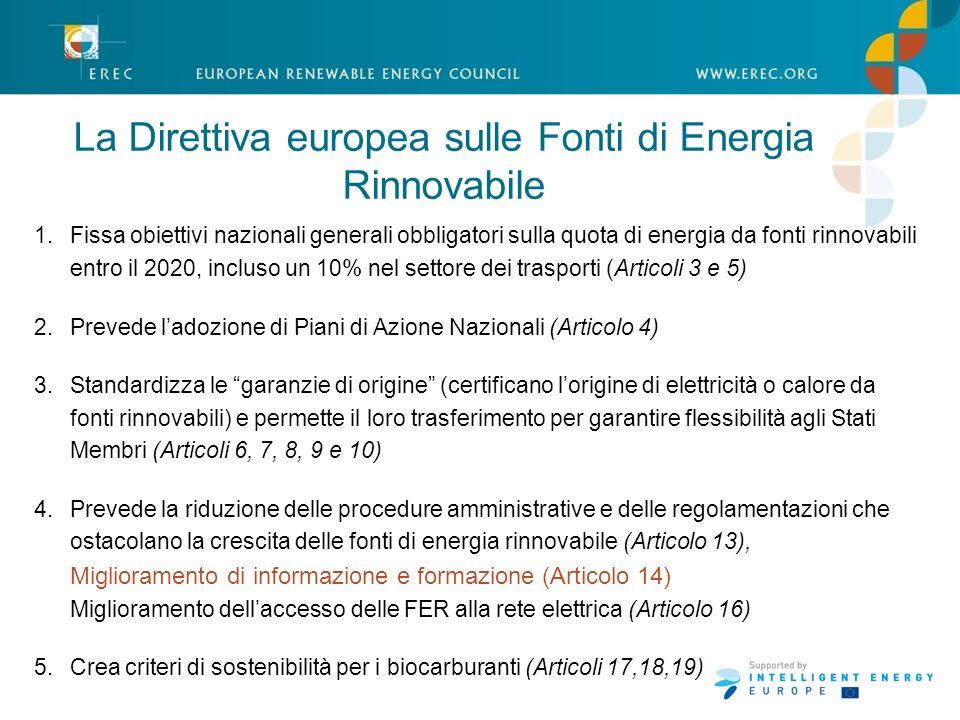 1.Fissa obiettivi nazionali generali obbligatori sulla quota di energia da fonti rinnovabili entro il 2020, incluso un 10% nel settore dei trasporti (Articoli 3 e 5) 2.Prevede ladozione di Piani di Azione Nazionali (Articolo 4) 3.Standardizza le garanzie di origine (certificano lorigine di elettricità o calore da fonti rinnovabili) e permette il loro trasferimento per garantire flessibilità agli Stati Membri (Articoli 6, 7, 8, 9 e 10) 4.Prevede la riduzione delle procedure amministrative e delle regolamentazioni che ostacolano la crescita delle fonti di energia rinnovabile (Articolo 13), Miglioramento di informazione e formazione (Articolo 14) Miglioramento dellaccesso delle FER alla rete elettrica (Articolo 16) 5.Crea criteri di sostenibilità per i biocarburanti (Articoli 17,18,19) La Direttiva europea sulle Fonti di Energia Rinnovabile