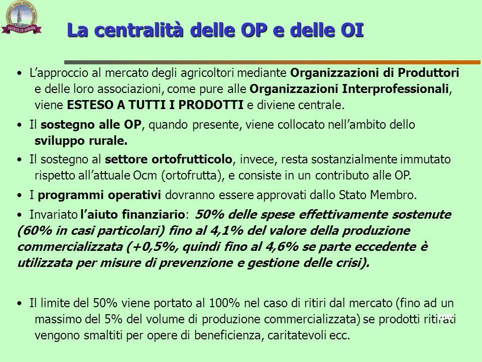 La centralità delle OP e delle OI Lapproccio al mercato degli agricoltori mediante Organizzazioni di Produttori e delle loro associazioni, come pure a