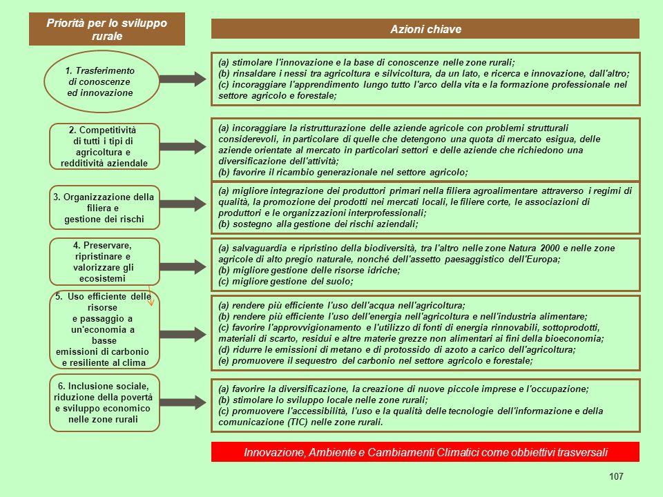 107 6. Inclusione sociale, riduzione della povertà e sviluppo economico nelle zone rurali 2. Competitività di tutti i tipi di agricoltura e redditivit