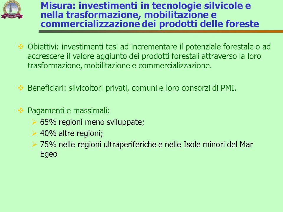 Misura: investimenti in tecnologie silvicole e nella trasformazione, mobilitazione e commercializzazione dei prodotti delle foreste Obiettivi: investi
