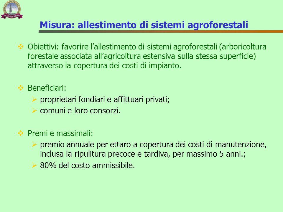Misura: allestimento di sistemi agroforestali Obiettivi: favorire lallestimento di sistemi agroforestali (arboricoltura forestale associata allagricol