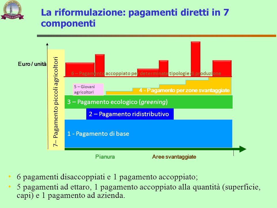 3 – Pagamento ecologico (greening) 1 - Pagamento di base 4 - Pagamento per zone svantaggiate PianuraAree svantaggiate 7– Pagamento piccoli agricoltori