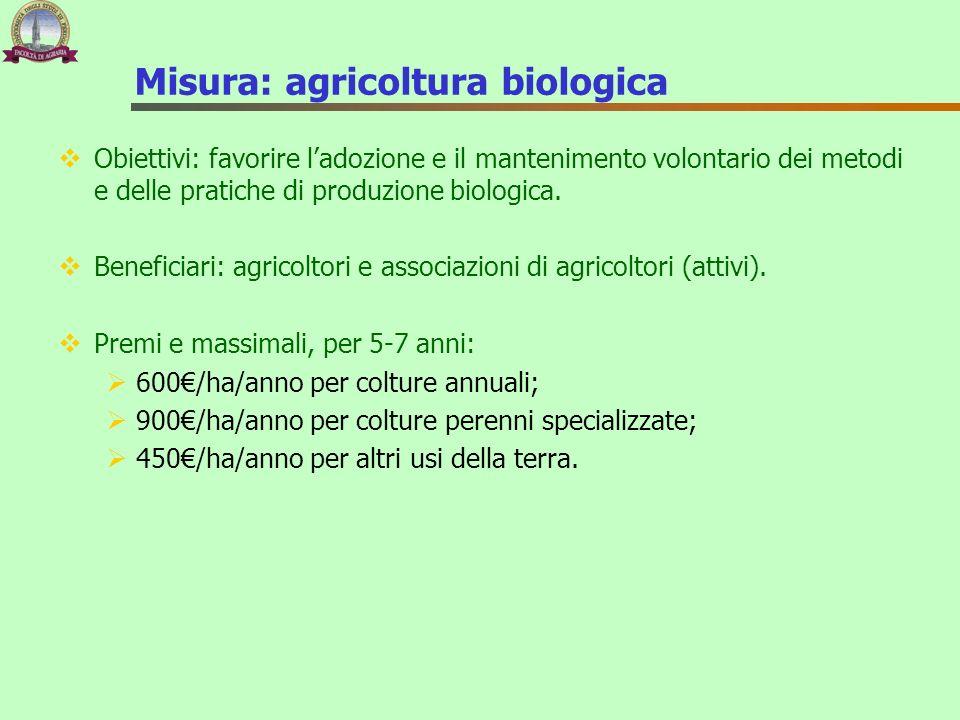 Misura: agricoltura biologica Obiettivi: favorire ladozione e il mantenimento volontario dei metodi e delle pratiche di produzione biologica. Benefici