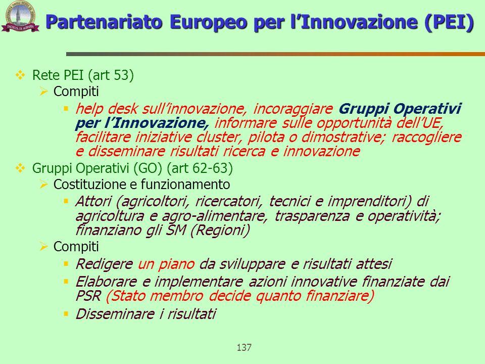Rete PEI (art 53) Compiti help desk sullinnovazione, incoraggiare Gruppi Operativi per lInnovazione, informare sulle opportunità dellUE, facilitare in