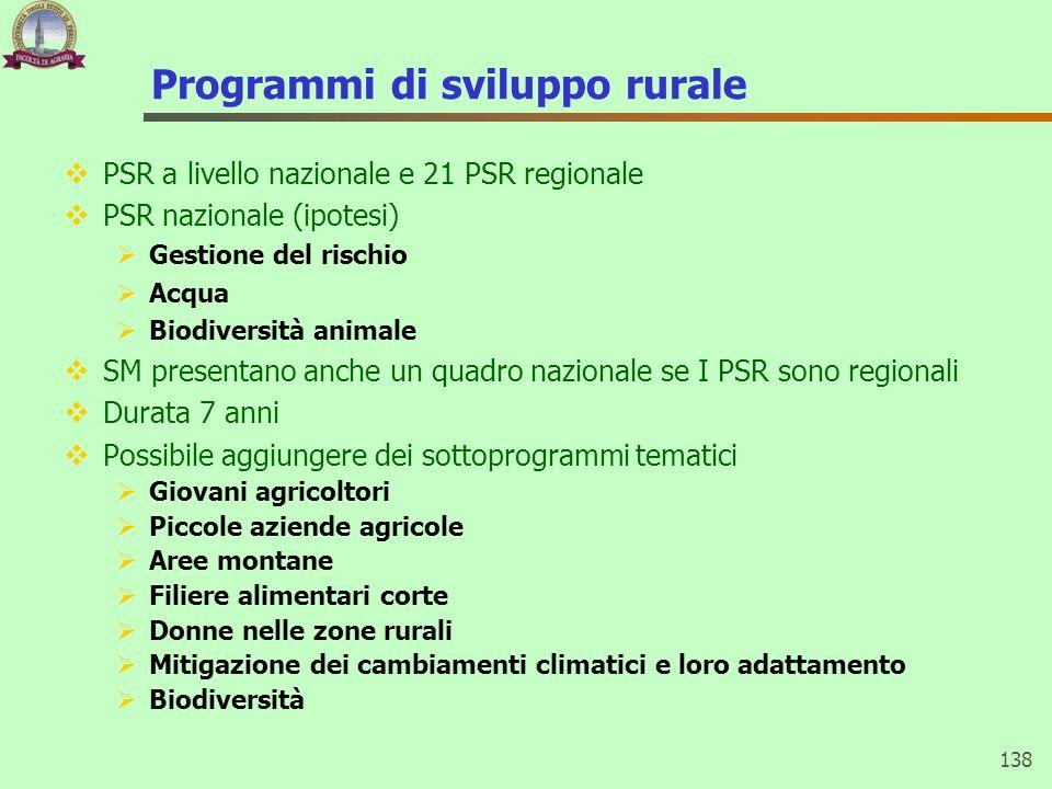 Programmi di sviluppo rurale PSR a livello nazionale e 21 PSR regionale PSR nazionale (ipotesi) Gestione del rischio Acqua Biodiversità animale SM pre