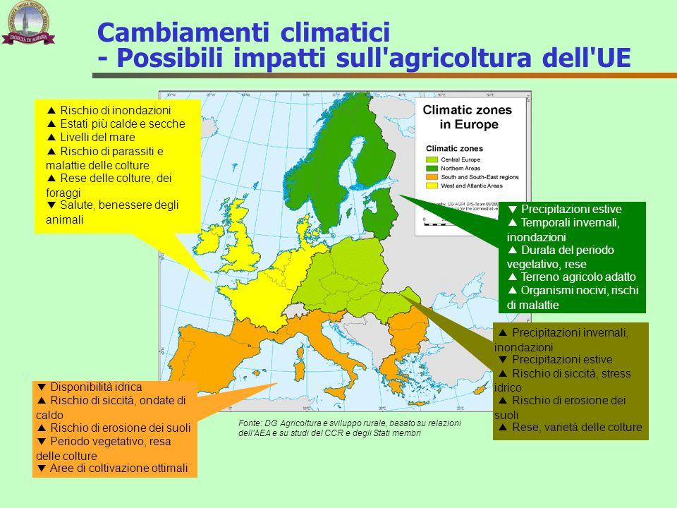 Cambiamenti climatici - Possibili impatti sull'agricoltura dell'UE Rischio di inondazioni Estati più calde e secche Livelli del mare Rischio di parass